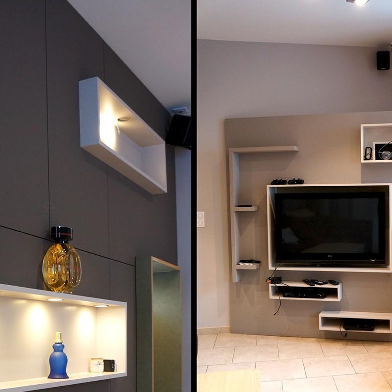 conception meuble TV sur-mesure et aménagement du séjour