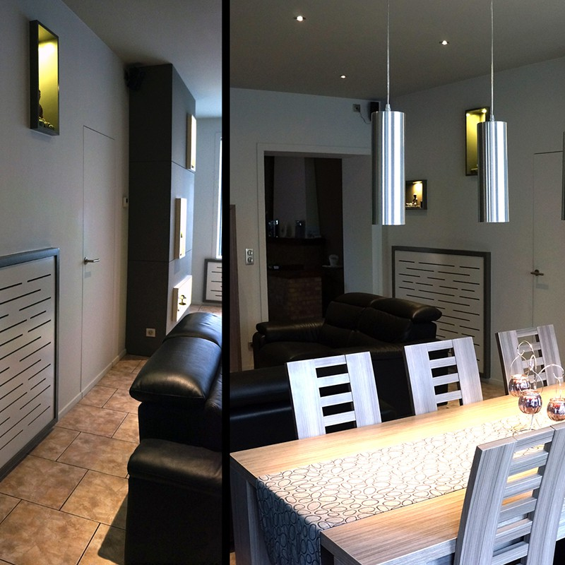 Aménagement séjour: calepinage sur mur, niches murales et cache-radiateurs